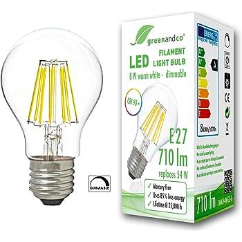 greenandco® CRI90+ Glühfaden LED Lampe dimmbar ersetzt 54