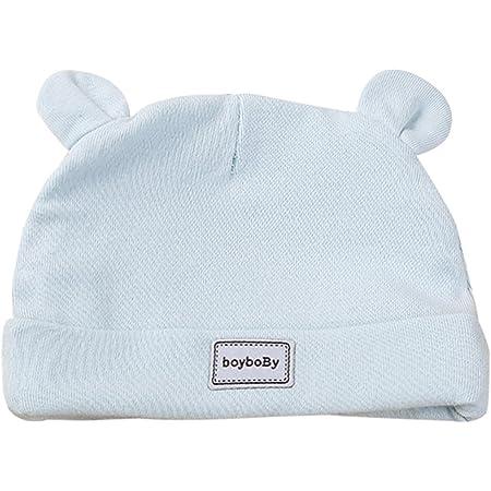 Feoya Gorro Gorra para Bebés Sombrero de Punto Recien Nacido Hat Primavera con Orejas Lindo Algodón Color Sólido Azul 0-3 Meses