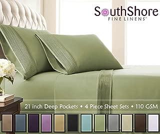 Southshore Fine Linens - 5 Piece - Extra Deep Pocket Pleated Sheet Set, Split King, SAGE Green