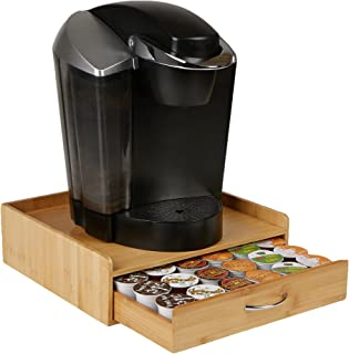 Giannas Home Rustic Farmhouse Country Distressed Wood Coffee Pod Holder For K-Cups 24 Capacity Torched Wood