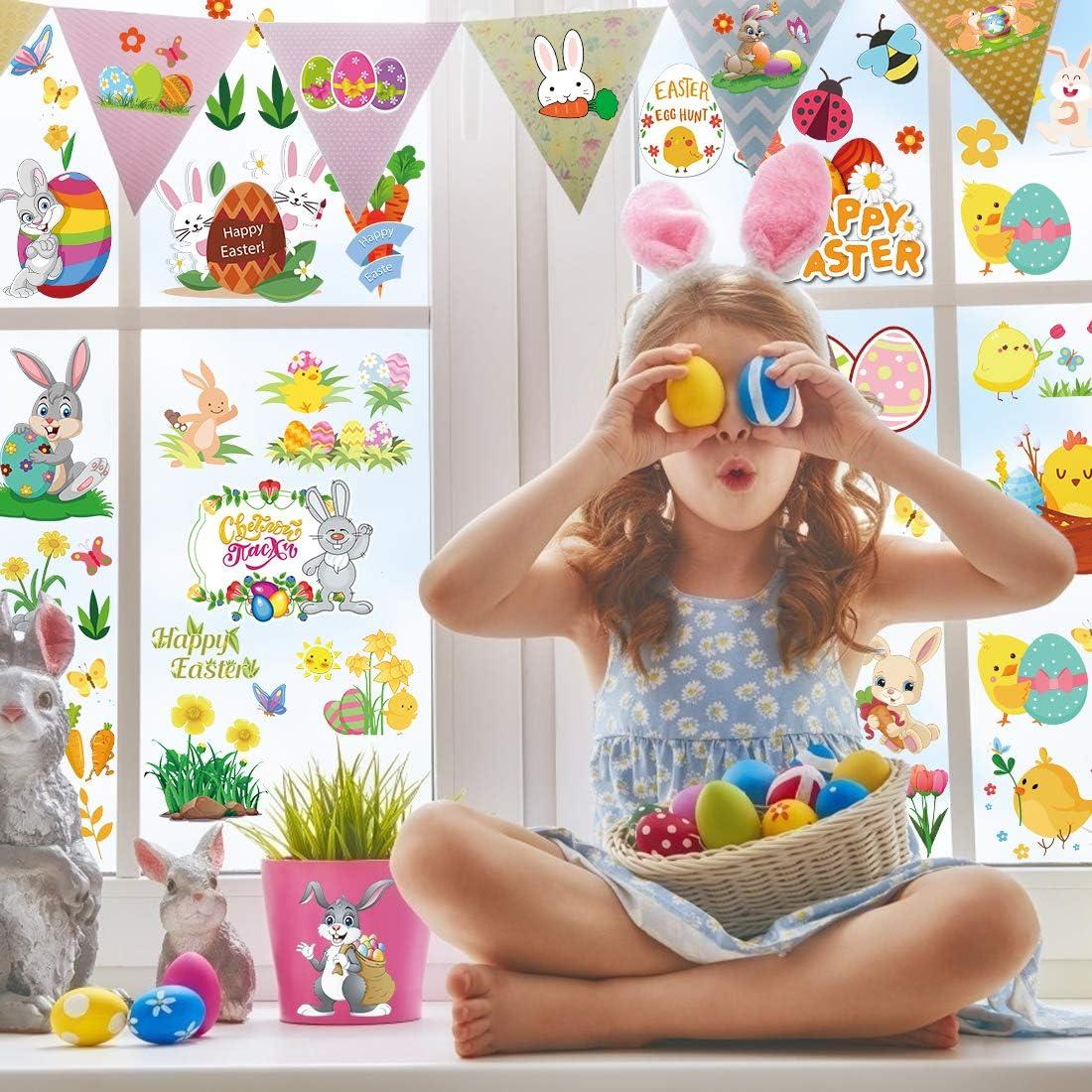 Oeuf Poule 8pcs Lot de Paque Autocollants pour Enfants DIY Craft Art Gommettes Paques Fleur 8 Feuilles Paques Stickers Lapin