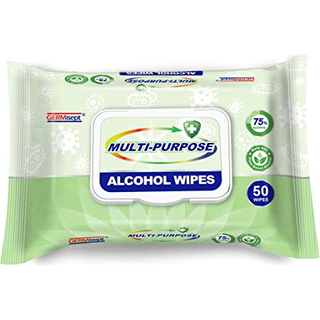 Germisept Multi-Purpose Alcohol Wipes Made With Plant Based 75/% Alcohol 150 Count Wipes 3 Pack