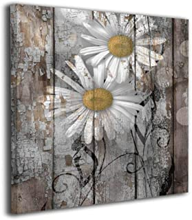 Song Art Rustic Farmhouse Daisy Flowers Country Yellow Brown White Wall Painting Prints On Canvas Wall Decoration Frames Canvas-20x20 Inch Ready to Hang