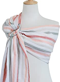 Vlokup Baby Ring Sling Baby Wrap Carrier - Extra Soft Linen and Cotton Baby Sling for Newborn, Infant, Toddlers, and Kids - Lightweight Breathable - Best Shower Gift for Boys or Girls, Orange Rainbow