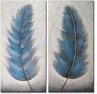 Wieco Art Blue Feathers Abstract Paintings Wall Art on Canvas Mordern Canvas Wall Art for Living Room Bedroom Wall Decor Contemporary Artwork for Home Decorations AB2130-4080