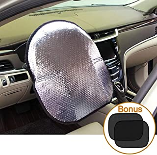 Big Ant Steering Wheel Cover Sun Shade + Bonus Cling Side Window Sunshade-Heat Reflector Fit Most Jumbo/Standard Car-Sliver (20.1
