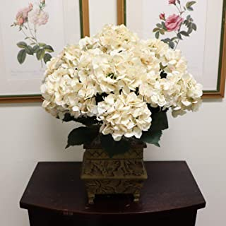 Hydrangea Silk Flowers Plant, Beige, Indoor Home Decoration, Outdoor Plant, Wedding, Centerpieces, Bouquets, Artificial Hydrangeas Bush with 7 Large Gorgeous Bloom Clusters, Leaves, Stems