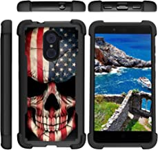 TurtleArmor | Compatible with ZTE Imperial Max Case | Max Duo | Grand X Max 2 [Grip Combat] Defender Armor Hybrid Impact Shock Silicone Bumper Case Kickstand - US Flag Skull