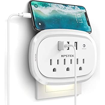 USB Wall Charger Outlet Extender, KPSTEK Multi Plug Outlet Splitter Adapter with 3 USB Ports and Night Light, Home Office Accessories with 900J, White – KS169