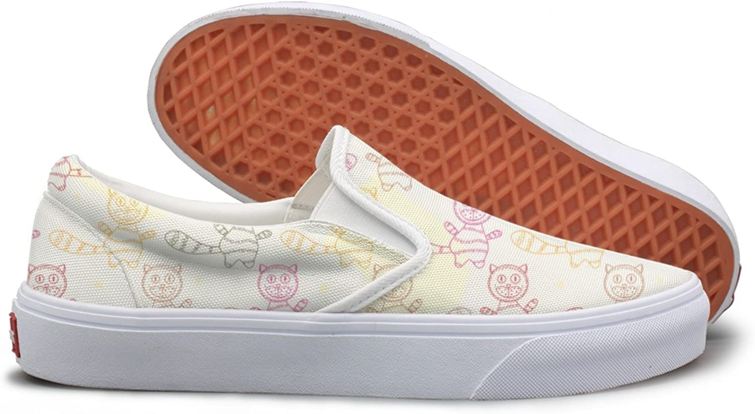 Lalige Colourful Persian Cat Womens Breathable Canvas Slip-ONS Walking shoes