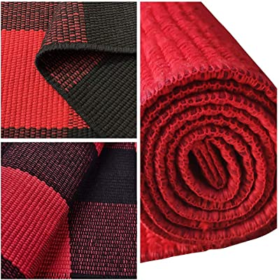 """EARTHALL Cotton Buffalo Black and Red Plaid Rug 2'x3', Hand-Woven Checkered Door Mat, Washable Outdoor Rug Farmhouse/Kitchen/Front Porch/Living Room/Laundry Room/Bathroom/Bedroom (23.6""""X35.4"""")"""