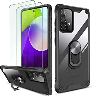 QHOHQ Hoesje voor Samsung Galaxy A52 4G/5G met 2 Pack Gehard Glas Screen Protector, [360 ° Roterende Stand] [5 keer Milita...