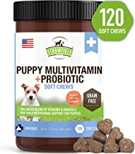 Puppy Vitamins and Supplements, Dog Multivitamin -120 Grain-Free Multi Vitamin Treats - Multivitamins for Puppies + Glucosamine Chondroitin MSM Joint Supplement Omega 3 Salmon Oil Probiotics for Dogs