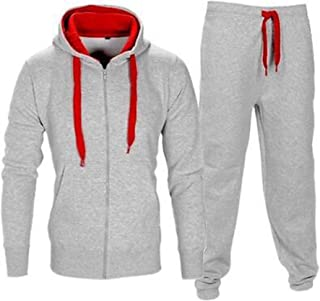 Men's Gym Contrast Jogging Full Tracksuit Hoodies Fleece Joggers Set