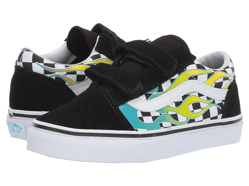 Vans Kids Old Skool V (Little Kid/Big Kid) ((Surf Flame) Scuba Blue/Black) Kids Shoes
