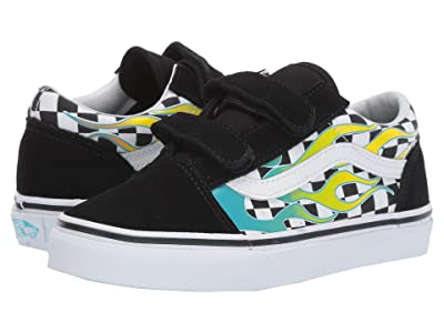 Vans Kids Old Skool V (Little Kid/Big Kid) ((Surf Flame) Scuba Blue/Black) Kids Shoes