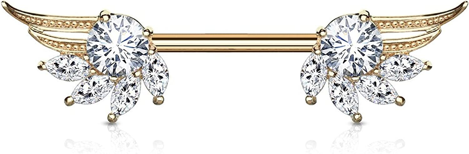 Covet Jewelry Round and Marquise CZ Prong Set Angel Wings Ends 316L Surgical Steel Nipple Barbell Rings