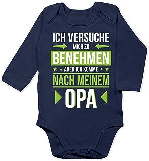 Shirtracer Sprüche Baby - Ich versuche Mich zu benehmen Aber ich komme nach Meinem Opa grün - Baby Body Langarm