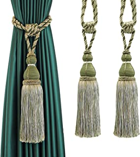 BEL AVENIR 2 Pack Tassel Curtain Tiebacks Holdback Large Handmade Drapery Tie-Backs Rope Home Office Hotel Elegant Decorative (Green)