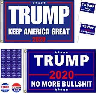 Goaus 2 PCS President Donald Trump 2020 Flags 3X5 Feet with Grommets and 2 PCS Hand Held Flags and 2 PCS Campaign Buttons Plus 32 PCS Stickers,Trump Supporting Set,Keep America Great,No More Bullsht