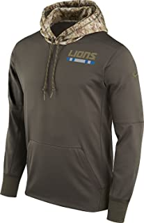 Nike Detroit Lions Salute to Service Sideline Therma Pullover Hoodie (Cargo Khaki, Large)