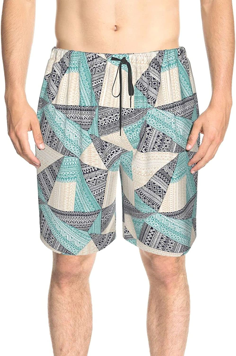 Men's Swim Shorts 80s 90s Blue White Beach Board Shorts Fast Dry Fashion Athletic Beach Short with Liner