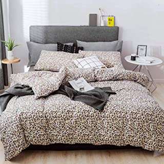 mixinni Leopard Print Duvet Cover Set, 3 Pieces Duvet Cover Set 100% Natural Cotton Queen/Full Quality Luxury Bedding with Pillow Shams, Ultra Soft & Easy Care(3pcs, Queen Size)