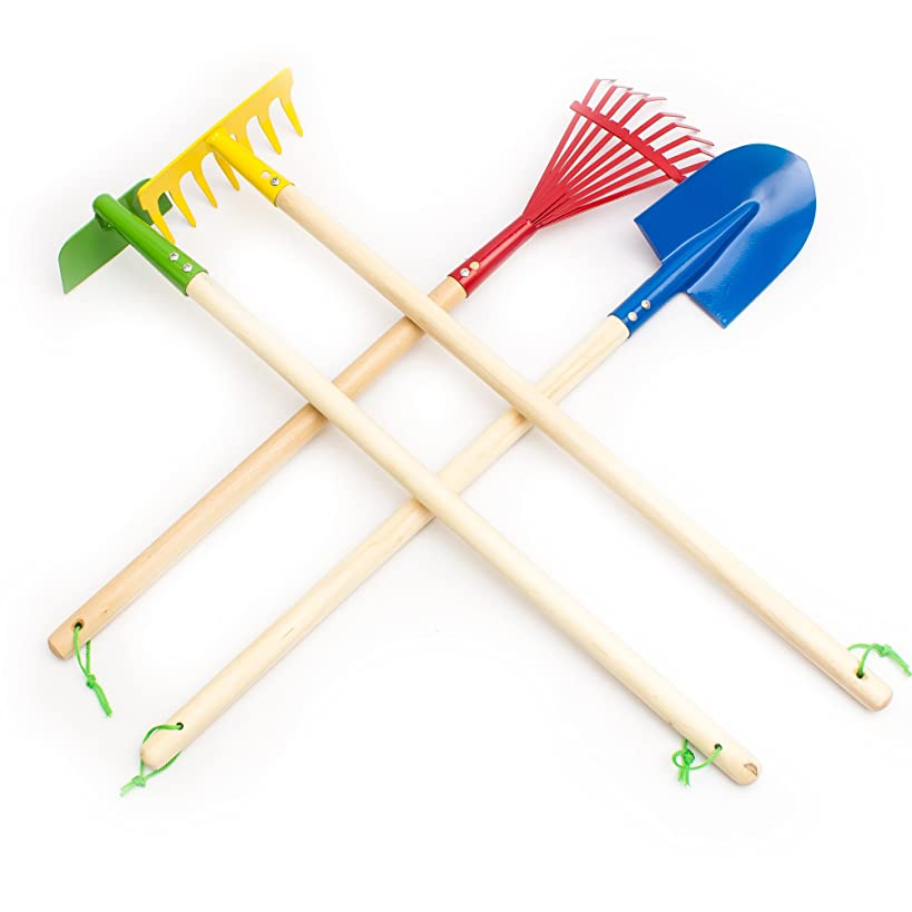 Fun Central AY757 29 Inch Kids Garden Tool Set, Blue Spade, Green Hoe, Yellow Garden Rake, Red Leaf Rake, Educational Gardening Tool Toys, Birthday Gifts Party Favors-4 pcs