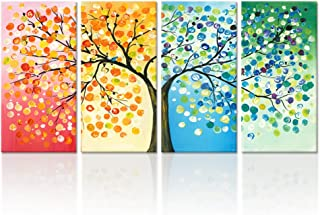 Kreative Arts - 4 Seasons Colorful Lucky Tree Painting Canvas Wall Art Abstract Contemporary Oil Paintings Giclee Prints for Home on Wall Canvas for Living Room Decration (Medium Size 12x24inchx4pcs)