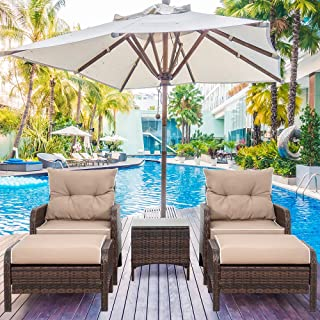 Shintenchi Outdoor Furniture 5 Pieces Set,All Weather PE Wicker Rattan Patio Conversation Set with Cushioned Patio Chairs,...