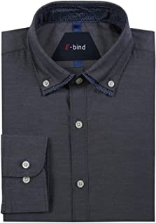 Mens Long Sleeve Chambray Shirt Casual Button Down Dress Shirt with Double Collar
