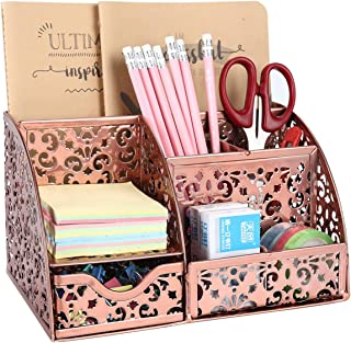 EasyPAG Office Metal Desk Organizer 6 Compartments + Drawer Mixed Pattern Design,Rose Gold
