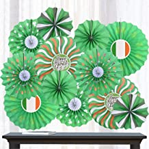 St. Patrick's Day Paper Fans Tissue Green Shamrocks Round Pattern Folding Fans Bundle Hanging Sign Lucky Irish Party Decorations Supplies Ornament, 12PCS (Green)