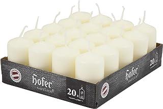 Hofer Lot de 20 bougies en cire en forme de colonne, jusqu'à 7 heures de combustion, 4 x 7cm, ivoire