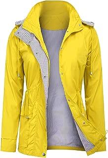 ZEGOLO Women Rain Jacket Lightweight Hooded Waterproof Active Outdoor Trench Raincoat