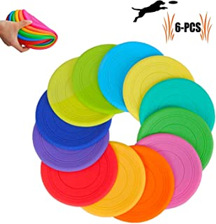 TEESUN Dog Frisbee Training Toys Flying Discs Flyer Silicone for Big Small Dogs Soft Tooth Resistant Rubber 6 Pack (Red Blue Green Yellow Orange)