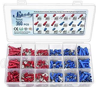 360pcs Conectores eléctricos, Sopoby Mixed Assorted Lug Kit Insulated Spade Wire Conector Crimp Terminal Spade Ring Se