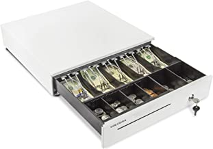 Cash Register Drawer for Point of Sale (POS) System with 5 Bill 6 Coin Cash Tray, Removable Coin Compartment, 24V, RJ11/RJ12 Key-Lock, Media Slot, White