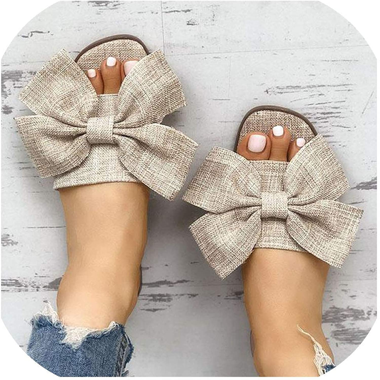 Beach Slippers Sandals Women Breathable Big Bow Linen Flip Flops Female Casual Flax Slippe,