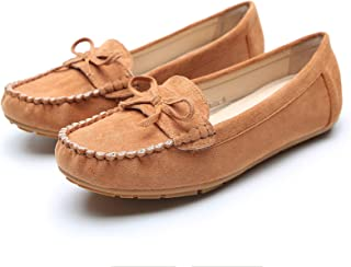 Comfortable Foldable Slip On Loafers Cushioned Insole Moccasins Suede Flats Shoes for Women