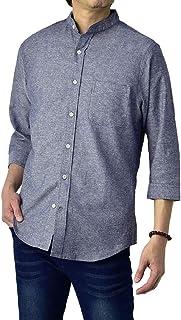 (フラグオンクルー) FLAG ON CREW バンドカラーシャツ メンズ 7分袖丈シャツ ノーカラー 麻混 リネンシャツ / B6B