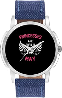 Wrist Watch for Men - Princesses are Born in May | Birthday Gifts for Girls - Analog Men's and Boy's Unique Quartz Leather Band Round Designer dial Watch