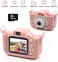 Kids Digital Camera Child Camcorder, Girls Birthday Toy Gifts for 4-13-Year-Old Children, Update Dual Cameras 20.0MP Toddler Video Recorder 1080P IPS 2