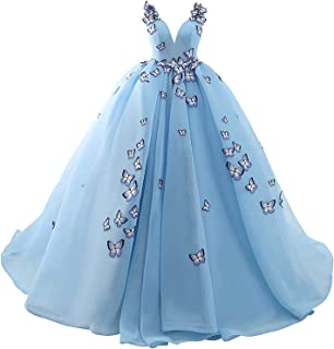 Heloise Women's Quinceanera Dress Tulle Butterfly Ball Gown Lace up Corset Sleeveless Prom Dress