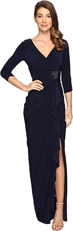 Long Sleeve Side Draped Jersey Gown w/Embellishment