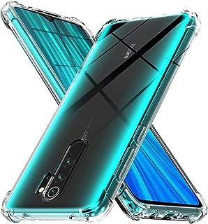 WJMWF Kompatibel med Xiaomi Redmi Note 8 Pro-Fodral [Två Skärmskydd] 360 ° Stötsäker Skal i Heltäckande Kristall Mjuk TPU ...