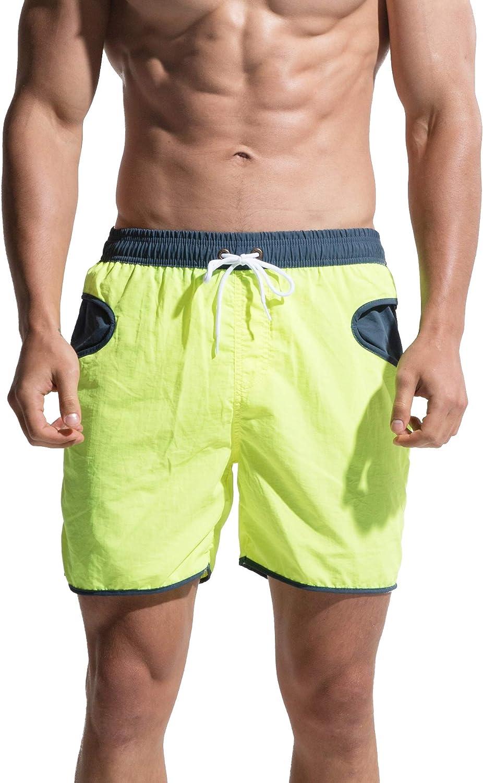 DESMIIT Mens Soft Board Shorts Swimwear Gent Surfing Drawstrings Qucik Dry Swimsuit