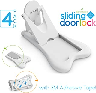 Sliding Door Lock for Child Safety - Baby Proof Doors & Closets. Childproof Your Home with No Screws or Drills by Ashtonbee (Set of 4, White)