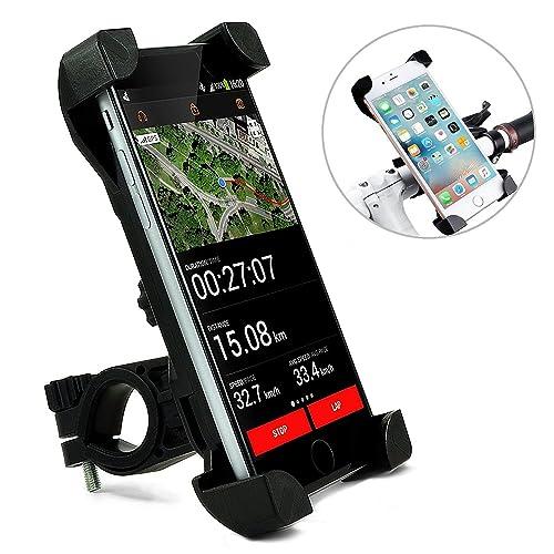 TecHERE BikeClaw2 - Supporto Universale per Bici Bicicletta Mountain Bike Moto - Porta Telefono Cellulare per iPhone X 8 7 6s 6 Plus SE 5s 5, Samsung Galaxy e altri Smartphone - Rotazione 360° (Nero)
