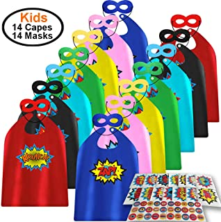 ADJOY Child Super Hero Capes and Masks 14 Sets Pack with Superhero Stickers - Superhero Themed Birthday Party Dress Up Capes